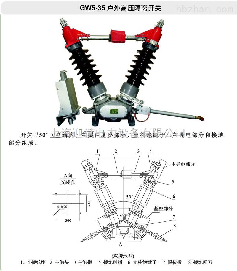 一、 GW5-35KV系列户外隔离开关适用装置在户外交流50HZ、额定电压分别为35KV电力系统中,供线路在有电压、无负载时作为开合电路之用。产品符合GB1985及其他相关标准要求。 二、使用环境条件 : 1、海拔不超过1000M; 2、环境温度上限为40,下限-25; 3、风速不超过35m/s; 4、不得有导电或化学腐蚀气体以及火灾; 5、爆炸危险的场所; 6、地震烈度不超过8度。 三、结构及其特点 : 隔离开关由底座、绝缘支柱及导电部分以及操动机构等组成。 每极有两个支柱,每个支柱上端各装有导电闸刀