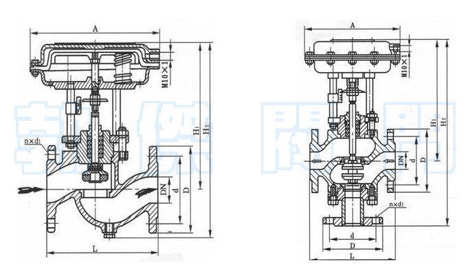 气动薄膜切断阀结构原理图图片